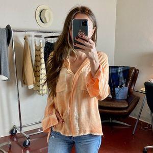 (CLOTH & STONE) Orange Dyed Button Down